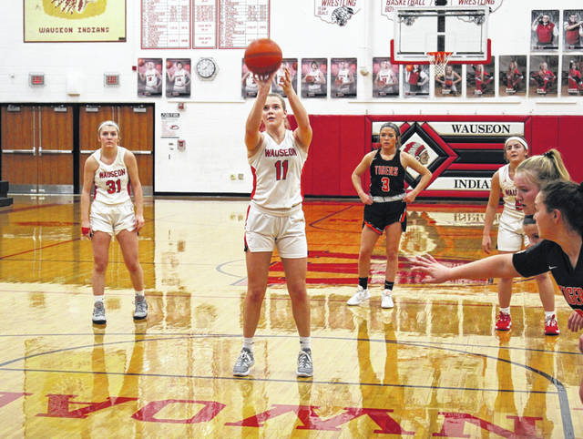 Chelsie Raabe hits a pair from the foul line for Wauseon Friday in a NWOAL contest with Liberty Center. The Indians held off the Tigers for a 60-50 win.