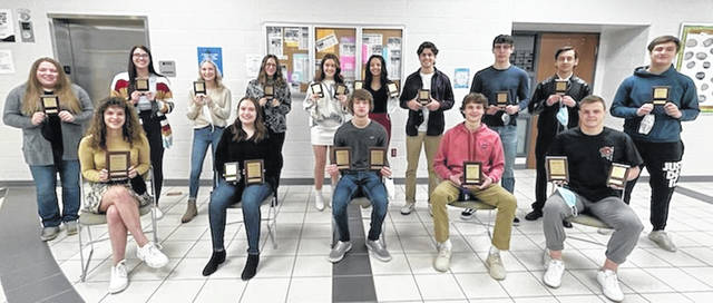 Students who competed in the BPA contest included, front row, from left, Jacquelyn Lennex, Elizabeth Ottney, Joshua Vance, Trent Weigel, Conner Cass, and back row, Lauren Hall, Avril Roberts, Ava Bond, Riley Bellner, Samantha Taylor, Jasmin Kenzie, Blaine Pawlowicz, Brier Cook, Joshua Alvarez, and Ian Saunders.