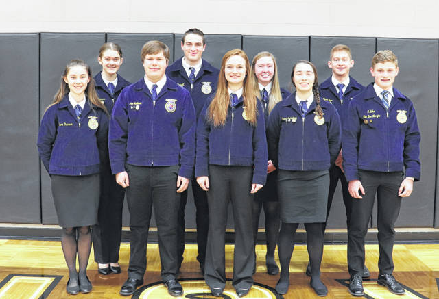The Pettisville FFA 2020-21 officer team has worked hard to complete officer books, plan for FFA Week, Greenhand and Chapter ceremonies, banquet, and spring Career Development Events. The chapter has also been holding meetings during the school's monthly activity period. Although members have not been able to attend or compete in all of the events they have been able to compete in several virtual events and competitions. Pictured are - back, from left - Clara Damman, reporter; Carson Bennett, vice president; Karsen Pursel, treasurer; Blake Eyer, sentinel - front, from left - Delana Damman, assistant treasurer; Andrew Hulbert, president; Kearsten Zuver, secretary; Grace Schnitkey, student advisor; Luke VanDenBerghe, second vice president. The 2021-22 officer team will be elected during the March meeting, where they will be recognized and officially installed.