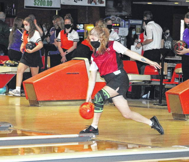 Wauseon's Quinlynn Rohda warming up prior to the sectional tournament at Napoleon's River City Bowl-A-Way a few weeks back. Rohda finished with a 575 series total this past weekend at the Division II district in Lima, taking ninth overall.