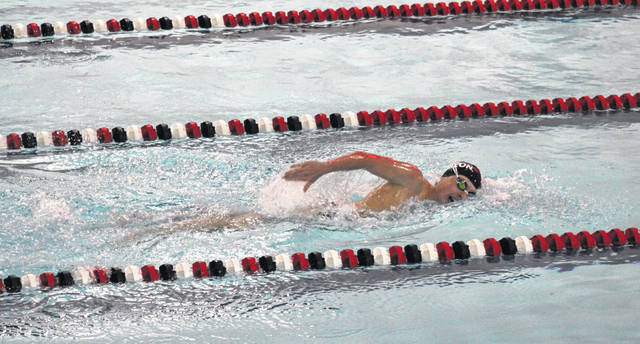 Wauseon's Andy Scherer swims in the 500-yard freestyle at a home meet earlier in the season. Following strong performances at the D-II district Friday at BGSU, Scherer has qualified for state in both the 200 and 500 freestyle races.