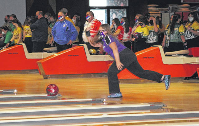 Swanton's Amy Lawson warms up for the Division II sectional tournament Friday afternoon at River City Bowl-A-Way in Napoleon. After teammate Hannah Patch who rolled a 623 series, Lawson posted the Bulldogs' second best score with a 587.