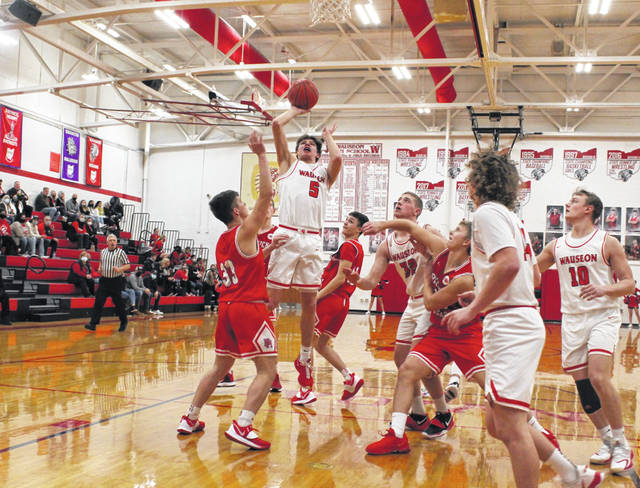 Jonas Tester of Wauseon hits a jump shot versus Patrick Henry Friday in NWOAL basketball. The Indians defeated the Patriots 48-25 to remain unblemished in league play.