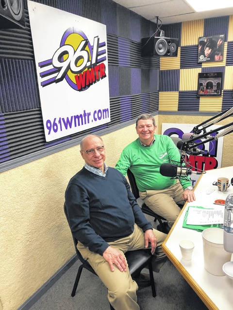 Wauseon Chamber of Commerce Director Bill Drummer, left, and Fulton County C0mmon Pleas Court Judge Jeff Robinson shared DJ duties at last year's Fulton County Heart Radiothon. The event will take place Feb. 11 despite the COVID-19 pandemic.
