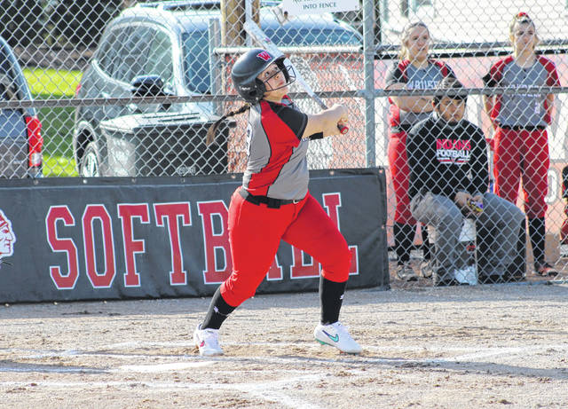 Jayli Vasquez hits a double for Wauseon that scores Payton Albright for the game's first run Tuesday versus Edgerton in non-league softball action. The Indians are now 3-0 on the season following a 9-1 win over the Bulldogs.