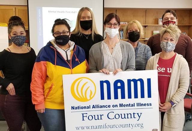 Participants in last month's youth Mental Health First Aid training were front row, from left, Jasmine Dillard, Fulton County Jobs and Family Service; Ashley Epling, Mentors for Williams County; and Rachel Kinsman, Fulton County Health Department. Back row: Josie Marchena, Fulton County Health Department; Logan Krassow, Defiance County Juvenile Probation; Verlinda Schantz, CASA volunteer; and Jesse Quinones, Henry County Family Court