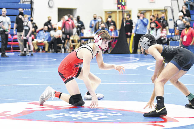 Wauseon's Collin Twigg sizes up an opponent during action on Saturday at the Division II State Individual Wrestling Tournament at Marengo Highland. Twigg would place sixth at 106 pounds.