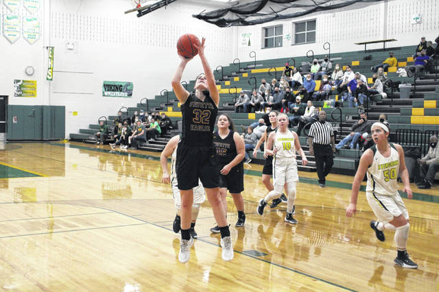 Trista Fruchey of Fayette with a bucket in a game at Evergreen this season. The senior made the All-BBC first team for the Eagles.