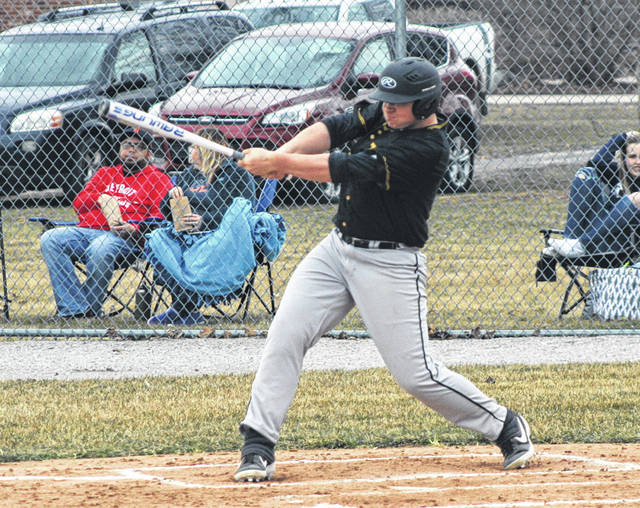 Nate Keim of Pettisville gets a base hit in a game versus Montpelier during the 2019 season. He returns for his senior season for the Blackbirds.