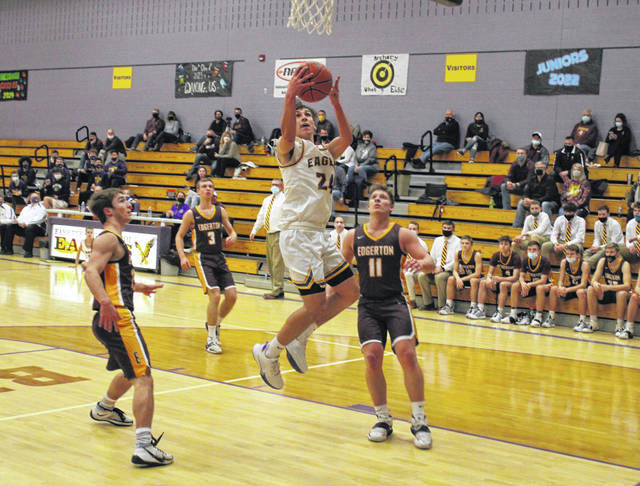 Fayette's Elijah Lerma with a layup in a game against Edgerton this season. Lerma received second team All-BBC honors for the Eagles.