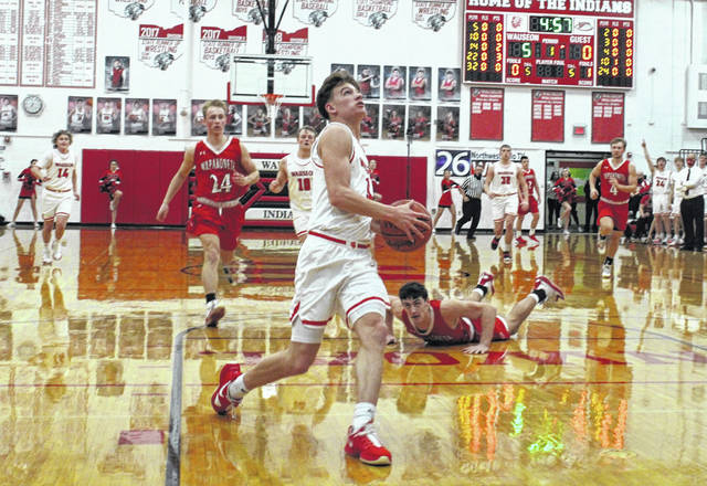 Jonas Tester of Wauseon goes up for a layup Friday in the sectional final. He scored nine points for the Indians, who pulled away from Wapakoneta in the second half to earn a 44-24 win.