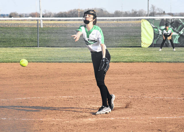 Jasey Spiess pitches for Delta during Tuesday's non-league battle with Woodmore. The Panthers ended up falling to the Wildcats 16-6.