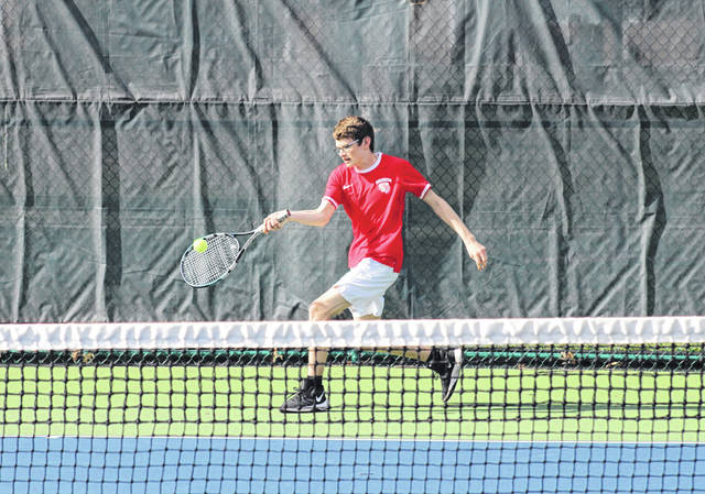 Riley Morr of Wauseon returns the ball in first singles during a match with Maumee last Friday. The Indians, however, dropped the contest to the Panthers 5-0.