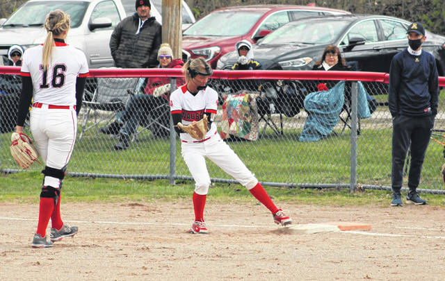 Payton Albright of Wauseon steps on first base to record the first out of the top of the second inning Thursday versus Archbold in NWOAL softball. The Indians defeated the Blue Streaks 8-5 to move to 2-0 in the league.