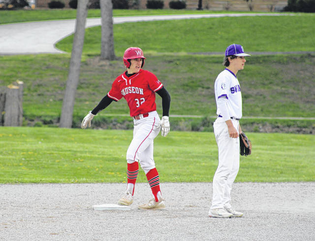 Wauseon's Jude Armstrong stands up at second base following a steal during Monday's game at Swanton. He finished 4 for 4 at the plate to help the Indians defeat the Bulldogs, 15-2.