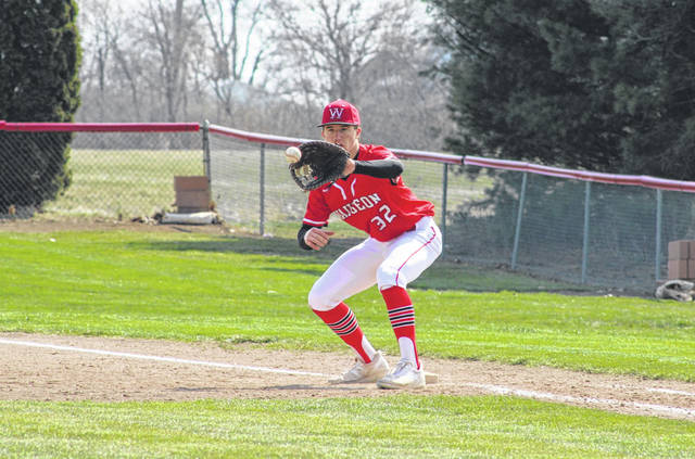 Wauseon's Jude Armstrong catches a ball at first base for an out last Saturday in the Indians' home matchup with Ottawa Hills. They would fall to the Green Bears 9-0.