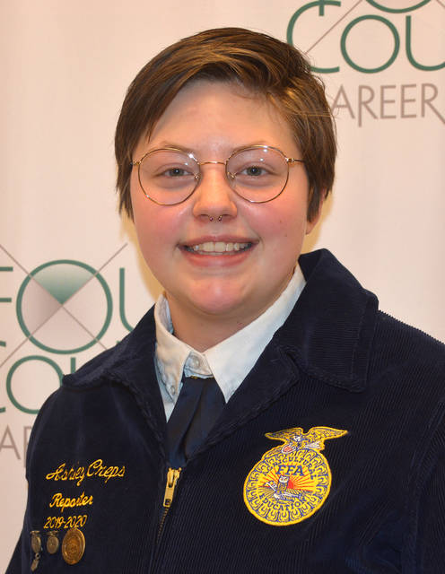 Four County Career Center in Archbold announced that FFA chapter member Ashley Creps of Delta will be recognized as an FFA State Degree recipient at the 93rd Ohio FFA Convention, to be held virtually April 29-30. The state degree is the highest degree awarded to Ohio FFA members. Ashley is a member of FCCC's Veterinarian Assistant program.