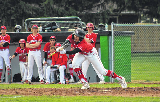 Cameron Cantu drops down a bunt for Wauseon in the top of the third inning of a NWOAL game at Delta Monday afternoon. He finished the game 1 for 2 with a pair of RBIs, helping the Indians to an 8-2 victory over the Panthers.