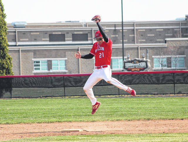 Wauseon second baseman Maddux Chamberlin makes a leaping grab prior to stepping on the bag for a force out at second in the top of the fourth inning Saturday against Ottawa Hills. The Indians suffered a 9-0 loss at the hands of the Green Bears.