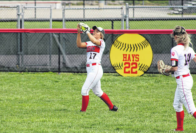 Wauseon's Alexis Haury snags a ball in center field during a doubleheader with Tinora on Saturday. The Indians swept the Rams 8-5 and 11-1.