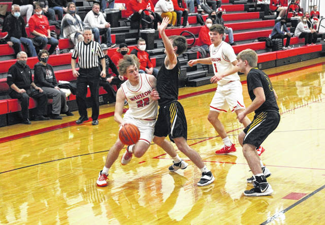 Connar Penrod of Wauseon drives in from the wing in a game with Fairview this season. He made special mention All-Ohio in Division II for the Indians this season.