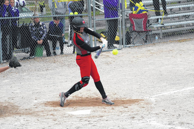 Chelsie Raabe of Wauseon grounds out but advances a runner to third in the top of the sixth inning Monday at Swanton. The Indians bested the Bulldogs 14-4 in six innings.