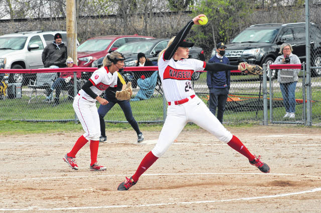 Wauseon's Macee Schang in her wind-up before throwing a pitch against Archbold in a game played Thursday, April 15. Schang picked up the win in the circle.