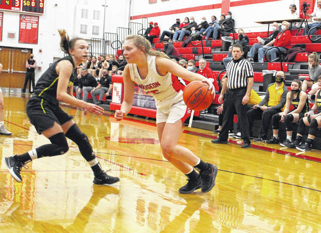 Marisa Seiler of Wauseon drives towards the bucket in a NWOAL game with Evergreen this past season. She was selected first team All-Northwest District in Division III after averaging 19 points per game.