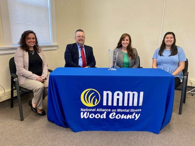Pictured, from left, are Jessica Schmitt-Hartman, executive director of NAMI Wood County, Luke Russell, deputy director of NAMI Ohio, Ohio Sen. Theresa Gavarone and Brianna Snow, AOT family/client advocate at NAMI Wood County.