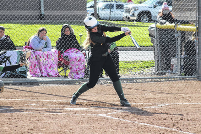 Brooklyn Richardson of Evergreen sends a home run to right field as part of a 17-1 win over Delta in a Division III sectional semifinal Tuesday at Evergreen. The Vikings next are at Liberty Center on Friday in the sectional final.
