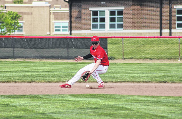 Wauseon second baseman Maddux Chamberlin fields Noah Huard's groundball for the final out of the top of the second inning Friday versus Bryan in a D-II sectional final. The Indians held on for a 4-3 victory to advance to the district.