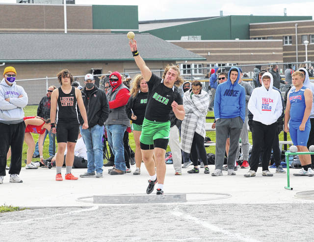 Delta's Kai Fox had a strong performance to win the shot put at the first day of the NWOAL Track and Field Championships on Tuesday at Evergreen. Fox took home the title in the event with a best toss of 46 feet and 1/2 inches.