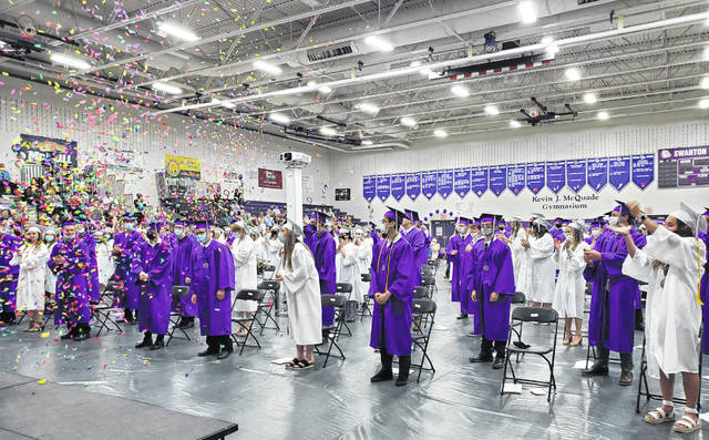 Members of the Swanton High School Class of 2021 celebrate their graduation on Sunday.