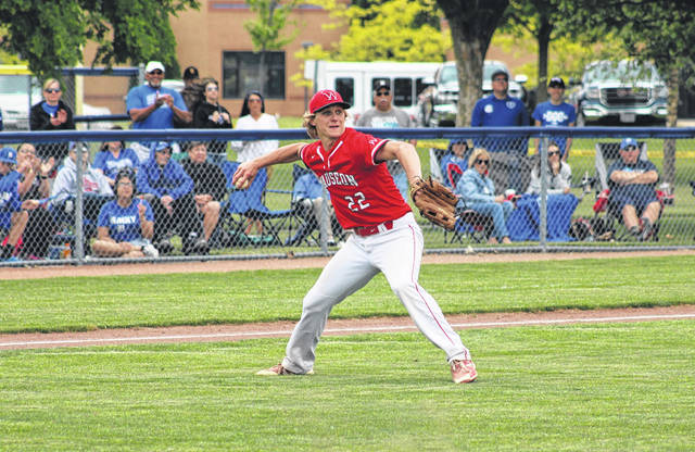 Wauseon pitcher Connar Penrod fields a bunt by Defiance and throws to first for an out Thursday during a Division II district semifinal at Archbold. The Indians would fall to the Bulldogs, 8-2.