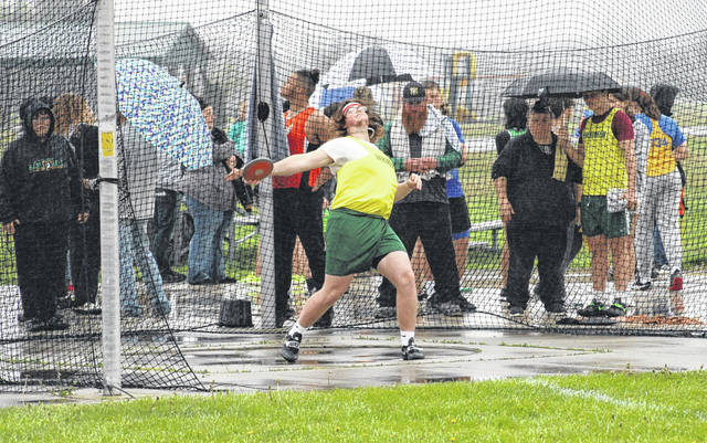 Evergreen's Sam Worline with a throw in the boys discus competition Monday at the TJ Rupp Invitational. The Vikings finished second to rival Delta in both the boys and girls meets.