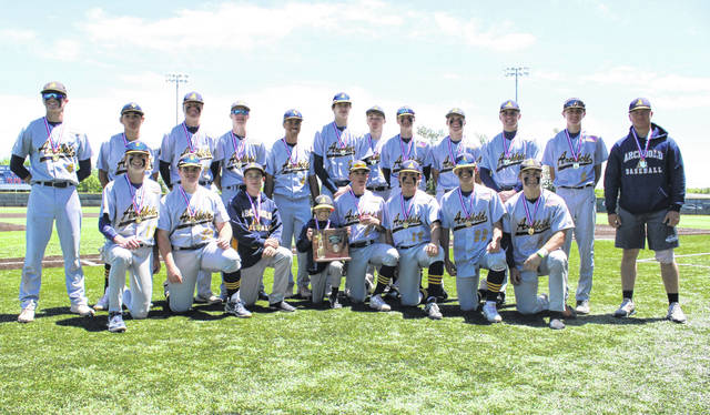 Archbold baseball won the Division III district championship at Defiance High School on Saturday. The Blue Streaks defeated Otsego 6-1 for the title.