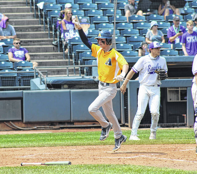 Gavin Bailey crosses home plate for Archbold Sunday in the Division III state championship game versus Cincinnati Hills Christian Academy at Canal Park in Akron. That was the lone run scored by the Blue Streaks as they fell 4-1 to finish as state runners-up.