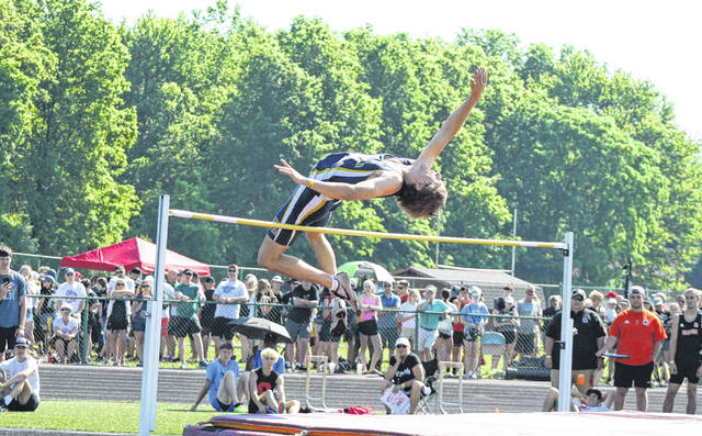 Archbold's Karter Behnfeldt over the bar in the high jump Saturday at the Division III State Track and Field Championships at Westerville North High School. Behnfeldt would finish seventh for the Blue Streaks.