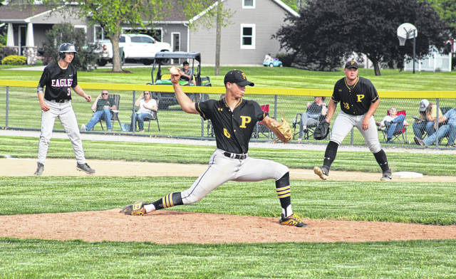 Josh Horning pitches for Pettisville in a tournament game versus North Central this season. He made first team All-BBC for the Blackbirds.