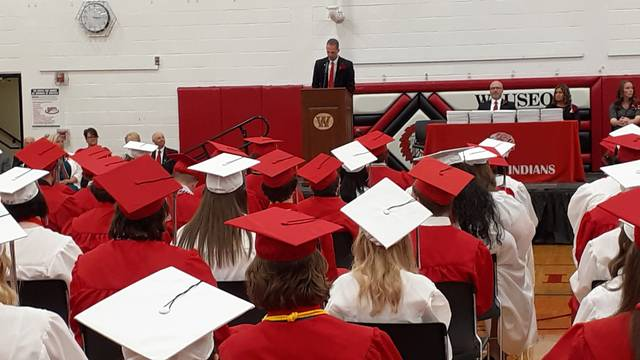 Wauseon High School Principal Keith Leatherman addressed graduates at Sunday's commencement.