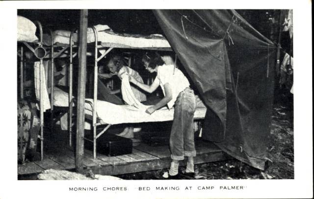 Campers making their beds as part of their morning chores at Camp Palmer southeast of Fayette. Camp Palmer was incorporated on March 4, 1946, by the extension offices of seven counties to provide an outdoor educational experience for 4-H club members with a land purchase of 16.73 acres. The first campers were welcomed in June 1947. Since that time three other counties' extension offices have joined and through 5 additional land acquisitions the camp comprises over 148 acres.