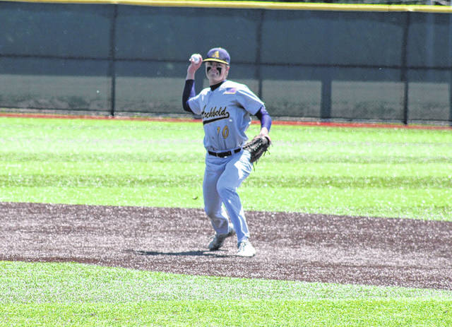 Archbold's DJ Newman with a put out in a district final game versus Otsego. Newman was selected first team All-Ohio as an infielder for the Blue Streaks.