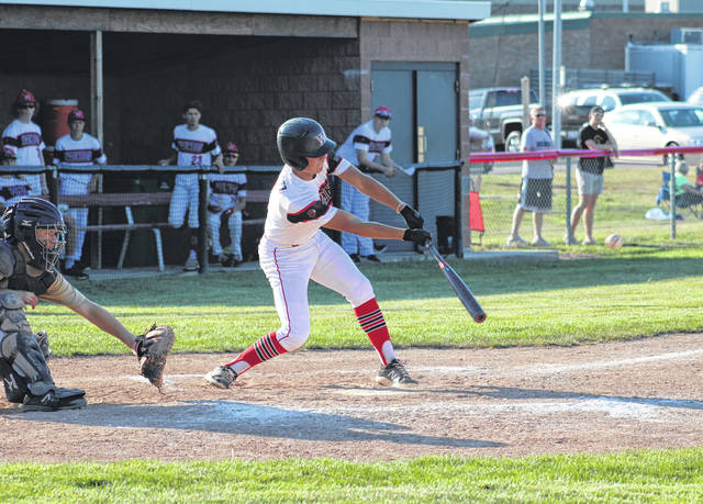 Tyson Rodriguez of Wauseon records a base hit in the bottom of the fourth inning Thursday in the Indians' ACME game against Holgate. The Indians bested the Tigers 17-10.