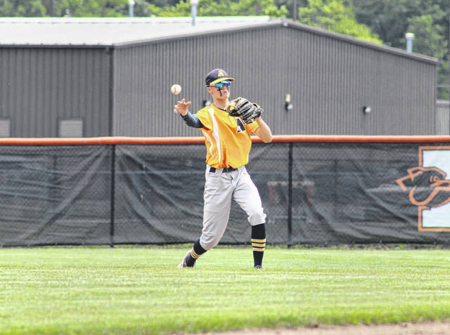 Archbold's Jayden Seiler throws out an Edison runner at first base during a Division III baseball regional semifinal in Elida on Thursday, June 3. The Blue Streaks defeated Edison and Liberty Union to advance to the state final four for the second time in program history.