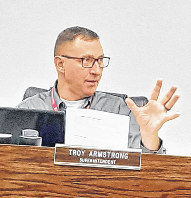 Troy Armstrong, Wauseon schools superintendent, explained to board members June 21 the reasoning behind the district's request for a 2% income tax levy.