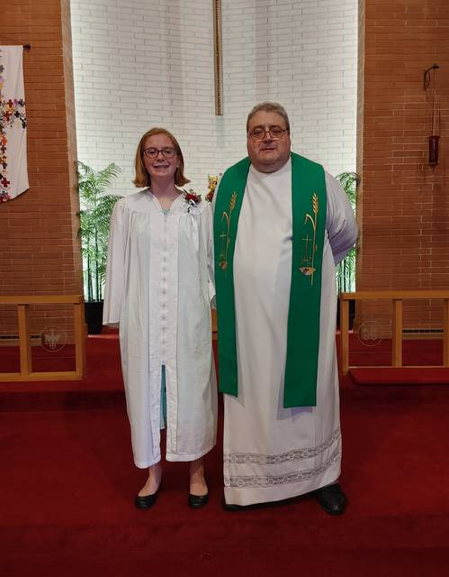 Anneka Wesche, daughter of Greg and Katie Wesche, was confirmed at St. Luke Lutheran Church, Wauseon, by Rev. Chris Sigmon on Sunday, July 11.