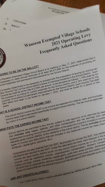 The Wauseon schol district is releasing an FAQ sheet to help explain the proposed 2% income tax levy.