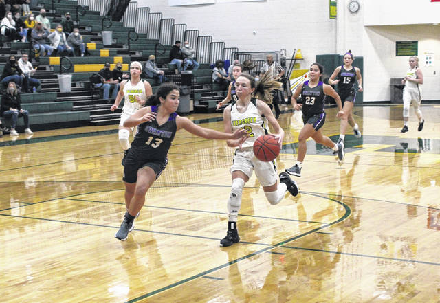 Aricka Lutz of Swanton, left, swipes the ball away from Evergreen's Sydney Woodring in a NWOAL girls basketball contest last season. For the time being it appears these two schools, along with Delta, will remain as members of the NWOAL.