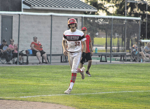 Jude Armstrong of Wauseon trots home joyously after he is walked in to pull the Indians within 13-12 in the top of the sixth Monday in a District 2 ACME baseball sectional runner-up contest. Wauseon scored 10 runs in their half of the seventh to earn a 22-13 victory.