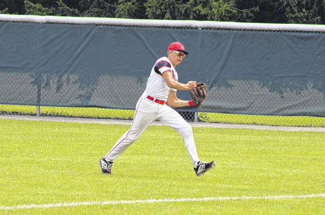 Keaton Hartsock of Wauseon makes a catch in right field during a District 2 ACME sectional game with Ayersville Saturday. The Indians, after dropping their opener against Tinora, bounced back with three straight wins to claim runner-up and advance to the district tournament.